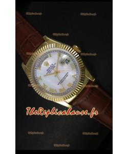 Réplique de montre suisse en or jaune Rolex Day Date 36MM - Cadran MOP blanc
