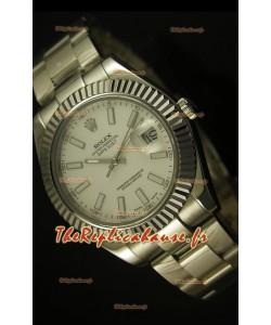 Montre suisse Rolex Datejust avec cadran blanc - 2836-2 ETA
