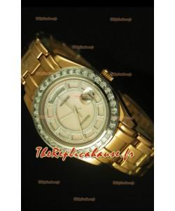 Montre suisse Day Date Rolex avec boîtier or jaune