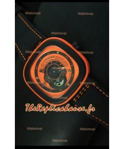 SevenFriday P-32 noire et orange avec mouvement Miyota 82S7 original - Qualité miroir 1:1