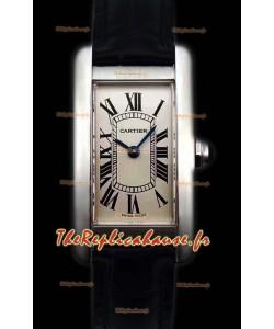 Cartier Tank Americaine montre réplique suisse  pour dames à Quartz à miroir 1:1
