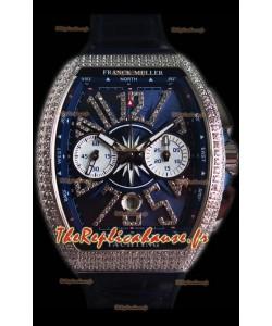 Franck Muller Vanguard montre suisse chronographe en acier 904L cadran bleu avec diamants