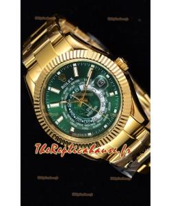 Rolex SkyDweller montre suisse avec boîtier en or jaune de 18 carats- cadran vert édition DIW