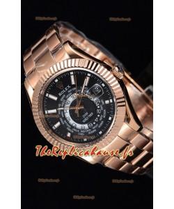 Rolex SkyDweller montre suisse avec boîtier en or rose de 18 carats - cadran noir édition DIW