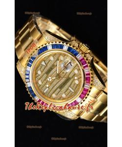 Rolex GMT Masters II glacé montre suisse avec boîtier en or jaune 904L