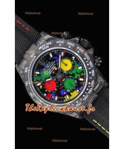 Rolex Daytona DiW montre réplique à miroir 1:1 avec boîtier forgé en carbone et cadran multicolore
