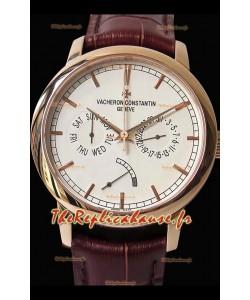 Vacheron Constantin Traditionnelle Jour Date montre suisse réplique en or rose