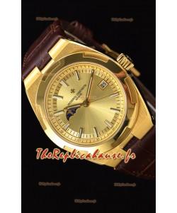 Vacheron Constantin Overseas Phase Lune montre suisse en or jaune avec bracelet marron
