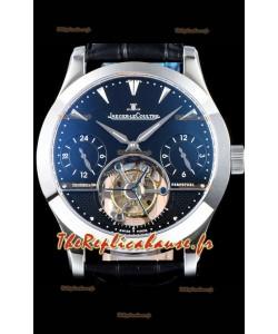 Jaeger LeCoultre Tourbillon perpétuel 904L Boîtier en acier Cadran noir Réplique de montre suisse