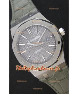 Audemars Piguet Royal Oak 41MM cadran gris bracelet en cuir - 1:1 Miroir Édition Ultime