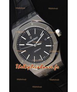 Audemars Piguet Royal Oak 41MM cadran noir bracelet en cuir - 1:1 Miroir Édition Ultime