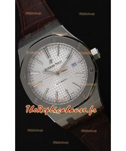 Audemars Piguet Royal Oak 41MM cadran argenté bracelet en cuir - 1:1 Miroir Édition Ultime
