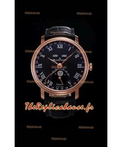 """Montre Blancpain """"Villeret Quantième Complet"""" 904L en acier et or rose à cadran noir"""