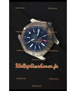 Montre Breitling AvengerII BlackSteel GMT Suisse bracelet en nylon Réplique à l'identique 1:1