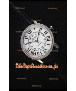"""Cartier """"Ronde De Cartier"""" Montre en Acier Inoxydable montre Avec lunette de diamants créés par laboratoire"""