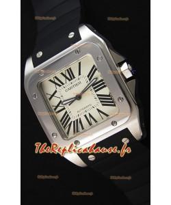 Cartier Santos De Cartier 1:1 Montre Réplique Miroir 39MM bracelet en caoutchouc