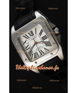 Cartier Santos De Cartier 1:1 Miroir Montre Réplique Sangle Noir 33MM Montre Femme