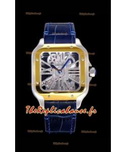 Montre squelette Cartier Santos DUMONT à lunette bicolore Réplique de montre suisse