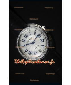 Montre Cle De Cartier avec un Boitier en Acier de 40MM et une Lunette en Diamant – 1:1 Montre Replica Miroir