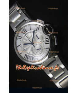 Boitier en Acier Inoxydable avec Cadran Blanc Ballon De Cartier Chronographe - 1:1 Replica Miroir