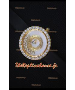 Chopard Happy Diamonds 36mm, Sangle Noire et Cadran Blanc
