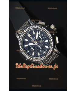 Montre Suisse Hublot Big Bang en PVD Emaillée de Diamants avec un cadran en Carbone