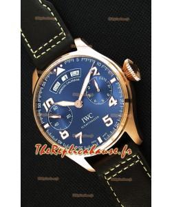 Montre IWC Big Pilot Annual Calender Cadran bleu acier Répliquée à l'identique 1:1