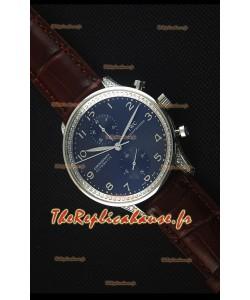 IWC Portuguese Chronograph - Cadran Noir aux Diamants, Sangle Brune Montre Réplique Miroir 1:1