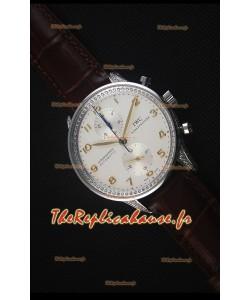 IWC Portuguese Chronograph - Acier Inoxydable aux Diamants Montre Réplique Miroir 1:1