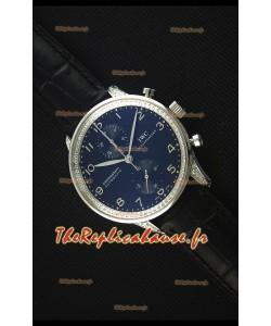 IWC Portuguese Chronograph - Cadran Noir aux Diamants, Sangle Noire Montre Réplique Miroir 1:1