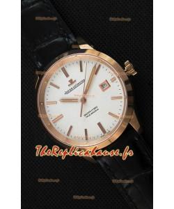 Montre Jaeger LeCoultre Geophysic True Second Suisse Couleur Rose Or , Cadran Blanc