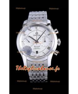 Chronographe Omega De Ville 1:1 Réplique de montre à miroir en cadran blanc 42MM