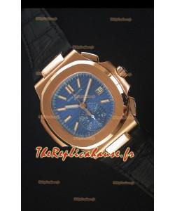 Patek Philippe Nautilus 5980 Chronographe Or Rose En cadran bleu - Réplique 1:1 Miroir