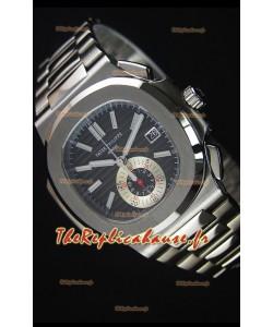 Patek Philippe Nautilus 5980 Chronographe boîtier en Acier avec cadran noir - Réplique 1:1 Miroir