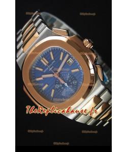 Patek Philippe Nautilus 5980 Chronographe  boîtier en Deux-Tons avec Cadran bleu - Réplique 1:1 Miroir