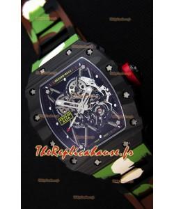 Richard Mille RM35-01 Rafael Nadal Boîtier forgé carbone avec bracelet de camouflage en caoutchouc