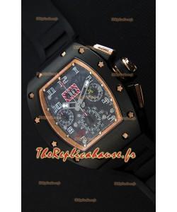 Montre Richard MilleRM011-FM Felipe Massa Étui en céramique noir d'une seule pièce avec Bracelet Noir
