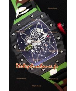 Richard Mille RM35-02 Rafael Nadal Boîtier forgé carbone avec bracelet de camouflage en caoutchouc