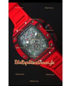 Richard Mille RM011-03 Montre avec boîtier en Un morceau de Carbone forgé rouge et Bracelet Rouge