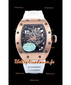 Richard Mille RM035 AMERICAS Montre réplique en or rose 18 carats avec bracelet blanc