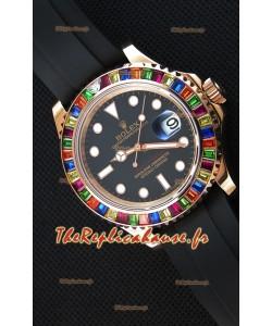 Montre Rolex Yachtmaster116695 Everose Gold Diamonds Répliquée à l'identique 1:1