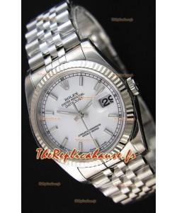 Montre Rolex Datejust 36mmCal.3135 Mouvement Suisse à Cadran Blanc et Bracelet Jubilé Répliquée — Montre en acier ultime 904L
