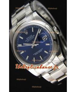 Montre Rolex Datejust 36mmCal.3135 Mouvement Suisse à Cadran bleu et Bracelet Oyster Répliquée — Montre en acier ultime 904L