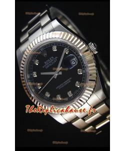 Rolex Datejust II 41MM avec Mouvement Cal.3136  Montre Réplique Suisse En cadran noir avec marqueurs de diamants