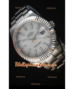 Rolex Datejust II 41MM avec Mouvement Cal.3136  Montre Réplique Suisse en Cadran Blanc avec Marqueurs de bâton