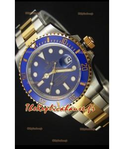 Rolex Submariner 16613 Montre Réplique Suisse 1:1 en Or Deux-Tons avec Cadran céramique et Mouvement Suisse 3135