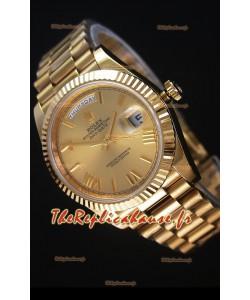 Rolex Day-Date 40MM Montre Réplique avec Cadran d'Or Chiffres romains Mouvement Suisse Cal.3255