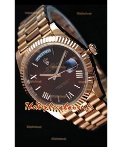 Rolex Day-Date 40MM montre Suisse en Or Rose et Cadran brun Chiffres romains