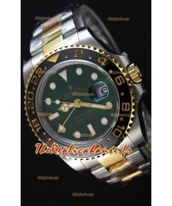 Rolex GMT Masters II acier et or bicolore Or Jaune Montre avec Cadran Vert