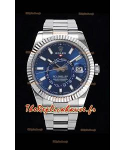 Rolex Sky-Dweller REF# 326934 Montre à cadran bleu dans un boîtier en acier 904L Réplique 1:1